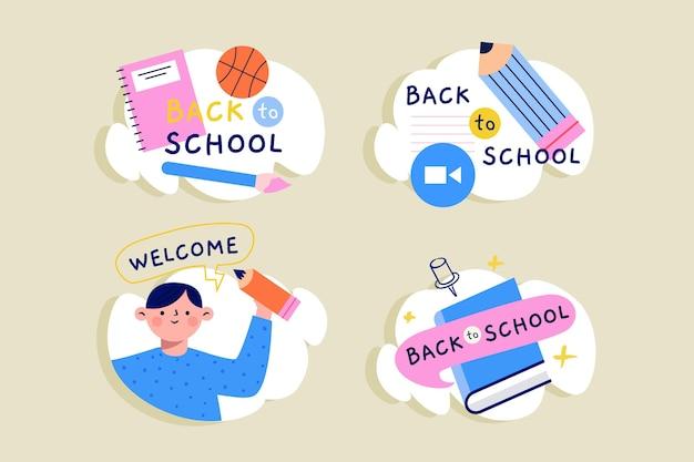 Tableau noir retour aux étiquettes de l'école