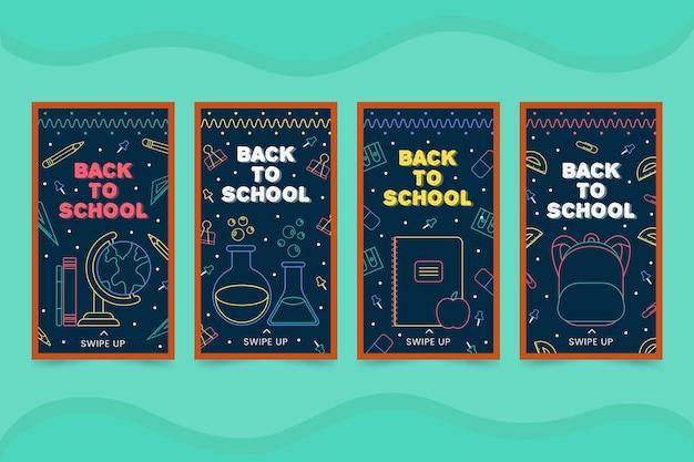 Tableau noir retour aux histoires instagram de l'école