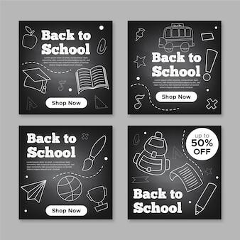 Tableau noir retour aux messages instagram de l'école