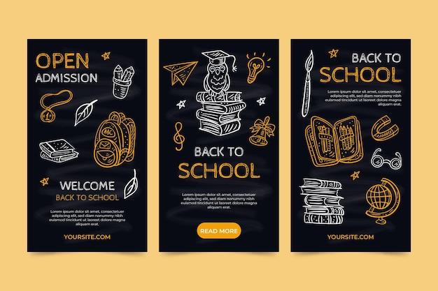 Tableau noir retour à l'école collection d'histoires instagram