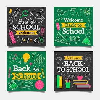 Tableau noir retour à l'école collection de messages instagram