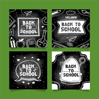 Tableau noir retour à l'école instagram post collection