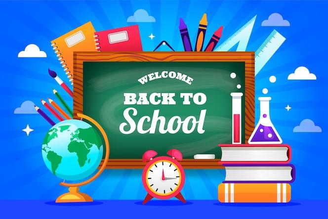 Tableau noir avec retour à l'école lettrage fond