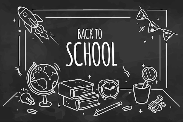 Tableau noir retour à l'école papier peint avec message