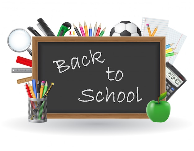 Tableau noir avec texte à l'école et éléments de l'école vector illustration