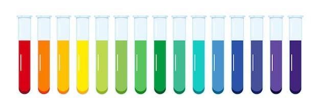 Tableau de ph standard solution aqueuse dans des tubes à essai en verre isolés sur fond blanc.