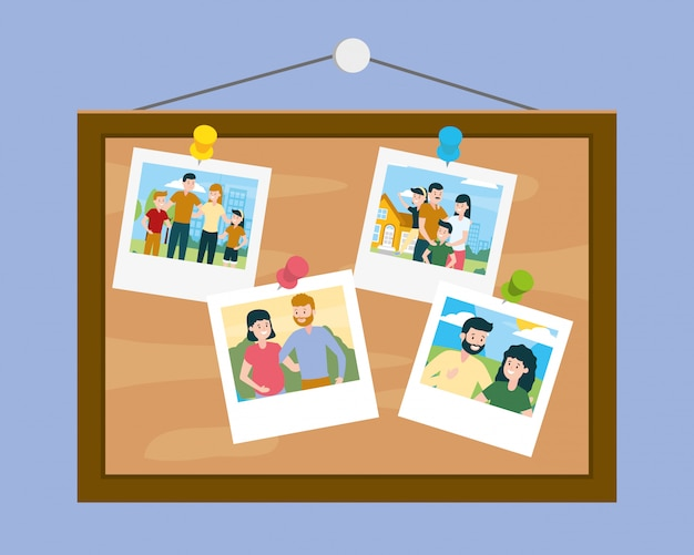 Tableau avec photos lors de la journée de la famille