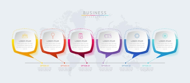 Tableau de présentation des informations commerciales du modèle de conception d'infographie avec 6 options ou étapes
