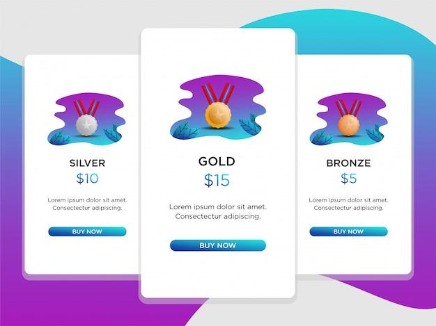Tableau de prix comparaison avec médailles