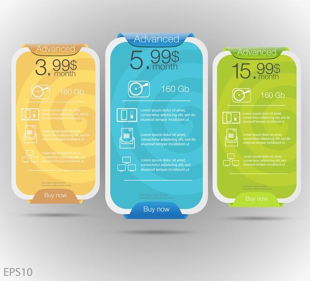 Tableau de prix dans le style de conception tarifaire pour le stockage en nuage de sites web