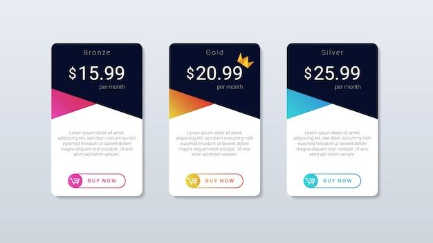 Tableau de prix moderne et simple, design coloré, pour application web et mobile.
