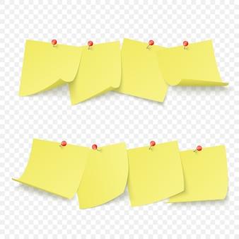 Tableau de rappel avec des autocollants jaunes vides attachés avec des épingles rouges