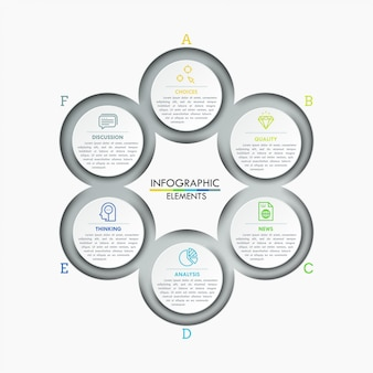 Tableau rond avec 6 éléments circulaires connectés, icônes linéaires et zones de texte