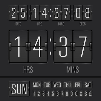 Tableau de score réaliste noir analogique avec minuterie de semaine numérique