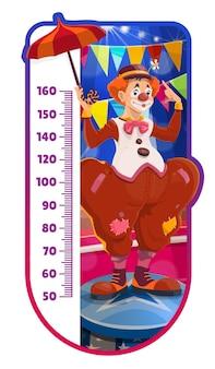 Tableau de taille d'enfants, clown de cirque de shapito de dessin animé