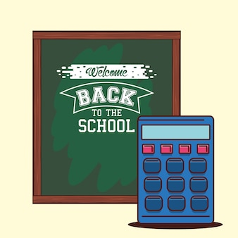 Tableau vert avec conception de calculatrice, classe de retour à l'école et thème de la leçon