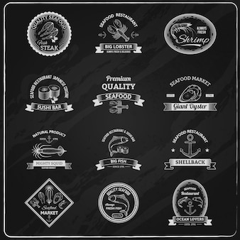 Tableau vintage badges de fruits de mer