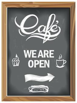 Tableau vintage avec café ouvert
