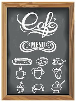 Tableau vintage avec des icônes de menu cafe
