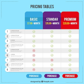 Tableaux de tarification