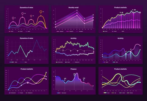 Tableaux de données abstraits. graphiques statistiques, graphique en courbes des finances et ensemble infographique de graphique d'histogramme marketing