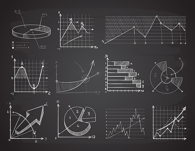 Tableaux des finances dessinés à la main