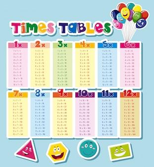 Tableaux de temps de conception avec fond bleu