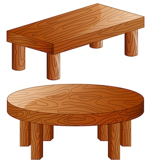 Tables en bois de dessin animé isolés sur fond blanc