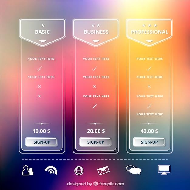 Tables éléments web transparents avec des plans tarifaires différents