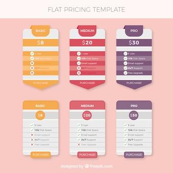 Tables de prix avec différents modèles et couleurs