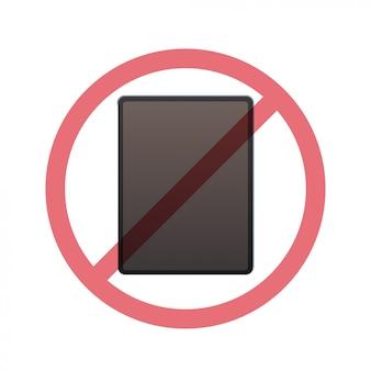 Tablet pc en signe d'interdiction concept de désintoxication numérique n'utilisez pas de gadgets