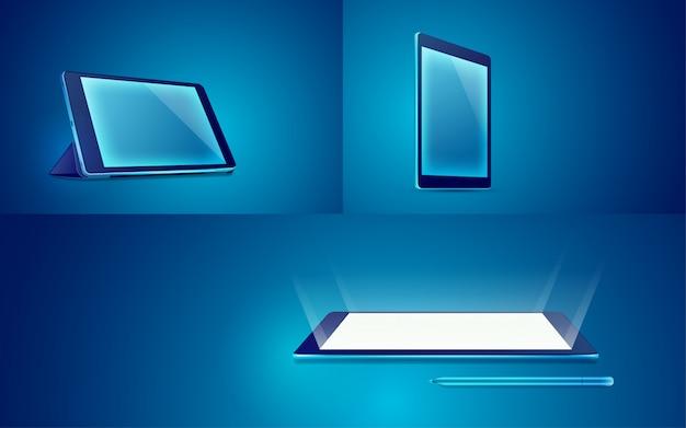 Tablette sur bleu, différentes vues