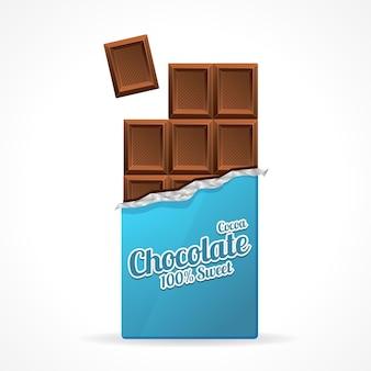 Tablette de chocolat au lait ouverte dans du papier d'emballage bleu