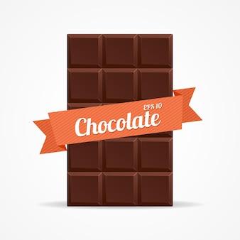 Tablette de chocolat noir ouverte avec un ruban orange avec l'inscription