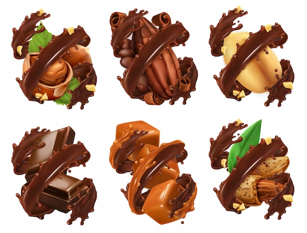 Tablette de chocolat, noix, caramel, fève de cacao en éclaboussures de chocolat. vecteur réaliste 3d