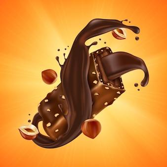 Tablette de chocolat sucré aux éclats de noisettes et caramel sur orange