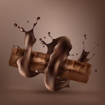 Tablette de chocolat sucré avec du chocolat fondu en spirale
