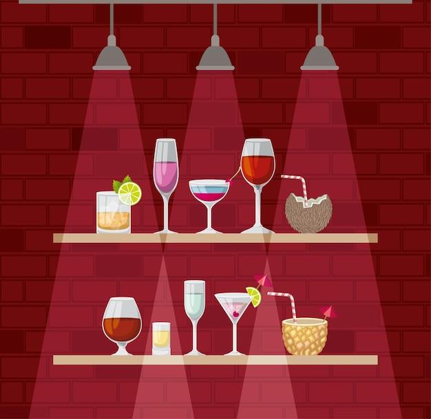 Tablette avec des cocktails tasses vector illustration design
