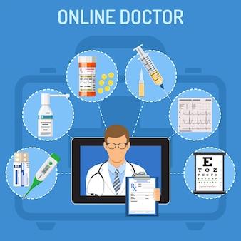 Tablette avec des éléments de médecin et de médecine