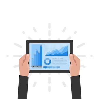 La tablette entre les mains d'un homme d'affaires avec des données statistiques présentées sous forme de graphiques et de tableaux numériques. analyse financière, statistiques. illustration vectorielle, design plat. notion de statistiques.