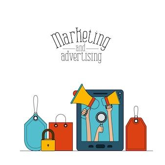 Tablette avec des escaliers pour le marketing de stockage en nuage et de la publicité