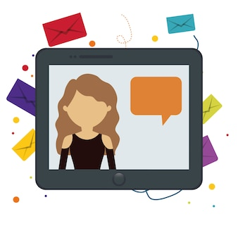 Tablette fille chat message bulle discours bakcground