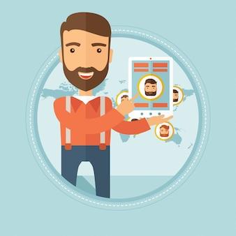 Tablette holding homme d'affaires avec les médias sociaux.