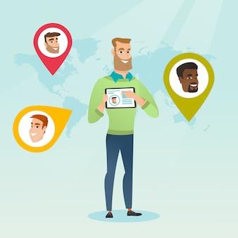 Tablette holding homme caucasien avec réseau social
