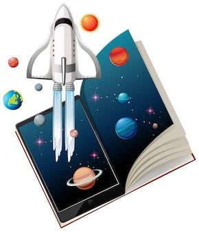 Tablette avec des livres pour l'apprentissage en ligne