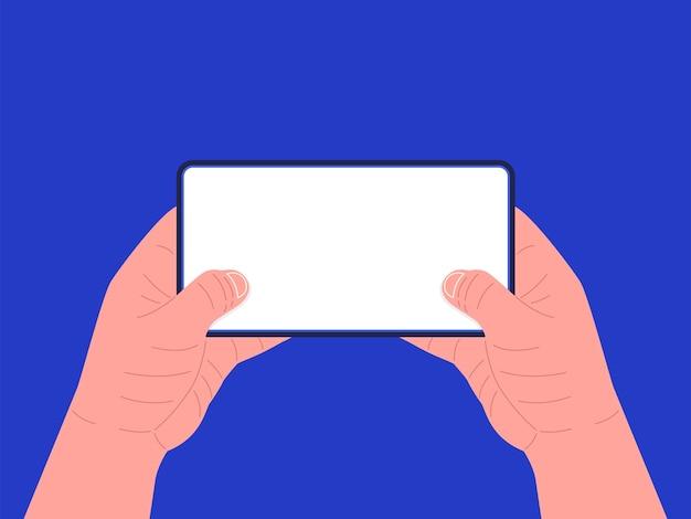 Tablette en mains. deux mains tenant la tablette. .