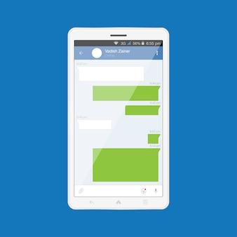 Tablette moderne blanche avec application mobile. application internet pour la communication sociale.