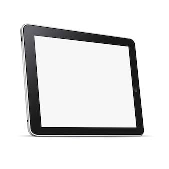 Tablette noire (pc) avec écran blanc isolé