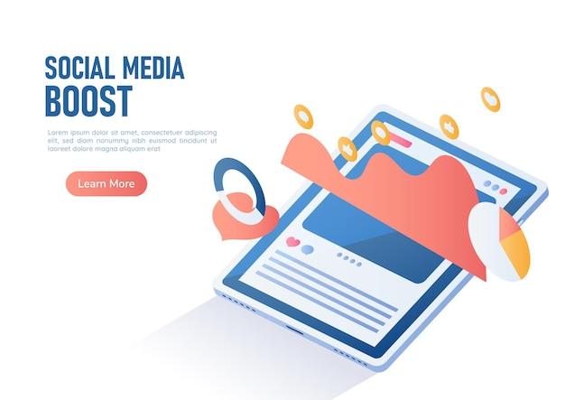 Tablette numérique de bannière web isométrique 3d avec graphique de publicité de publication de boost de médias sociaux. concept de stratégie de marketing numérique et de médias sociaux.
