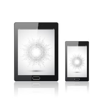 Tablette numérique moderne avec smartphone mobile isolé